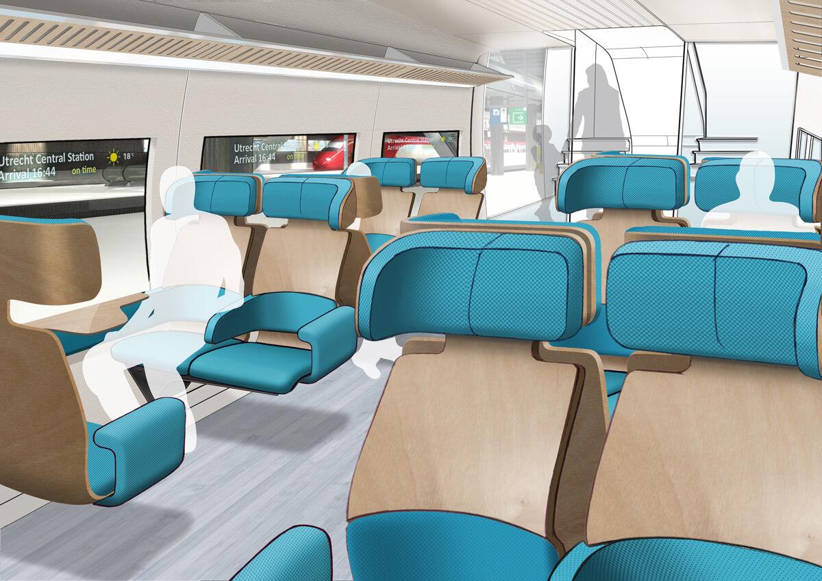 Sustainable train 2025 Intercity interior artist impression