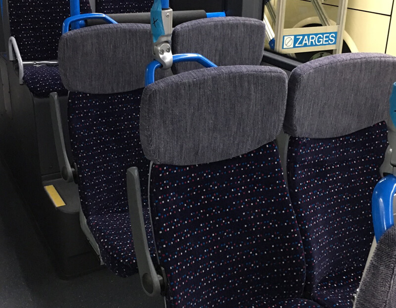 Schiphol bus seats upholstery with pattern