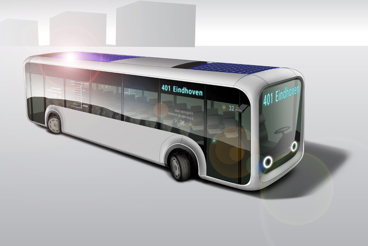 Artist impression autonomous public transport bus of the future in 15 year