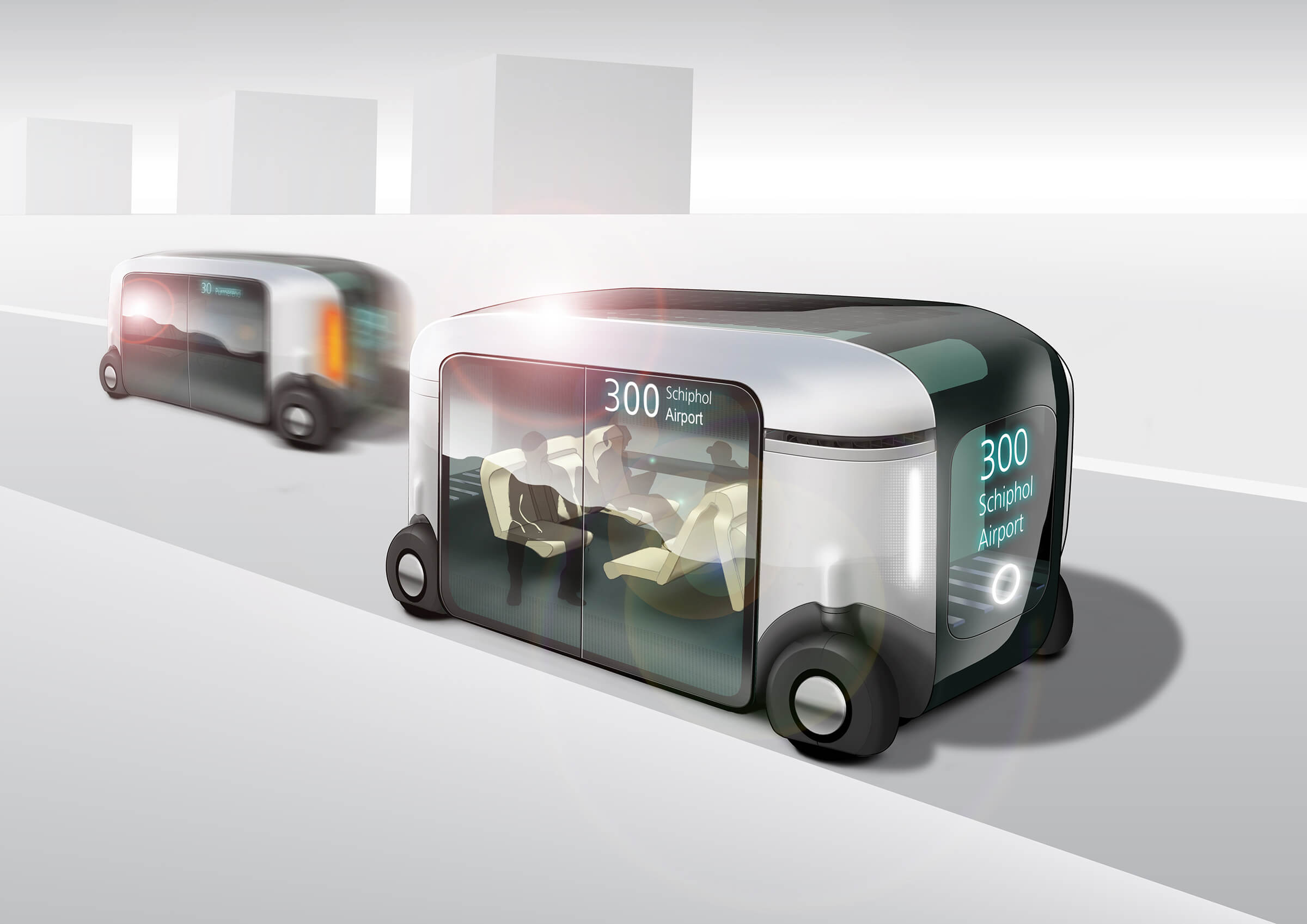 Artist impression autonomous public transport bus of the future