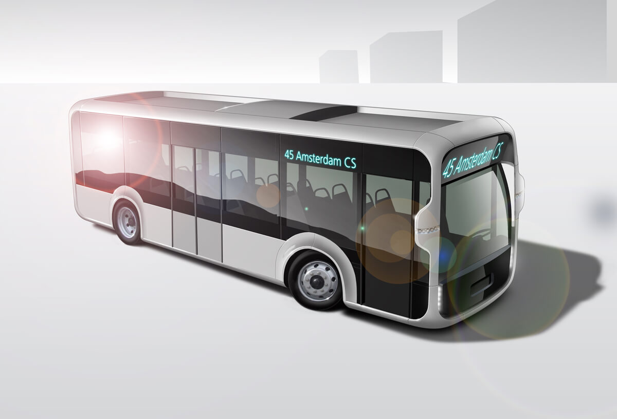 Artist impression sustainable public transport bus in 5 years