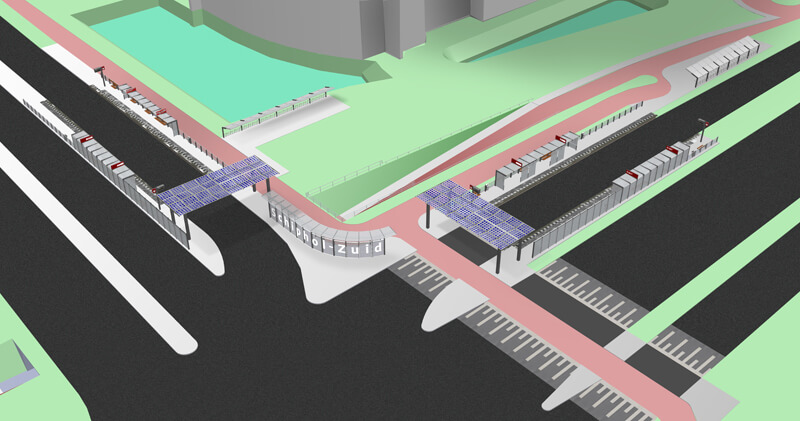 Gate and canopy Schiphol-Zuid 3D visualisation