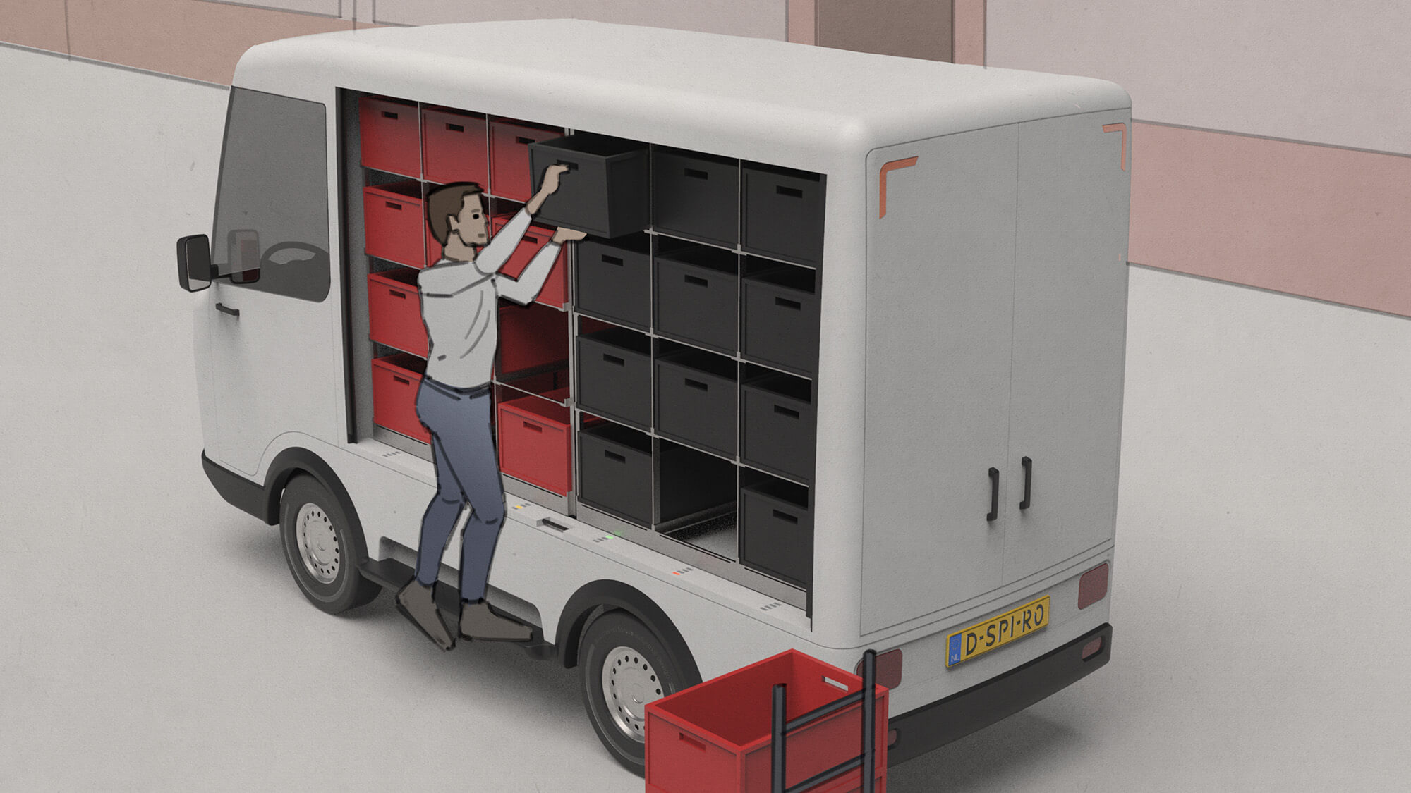 Electric delivery van step